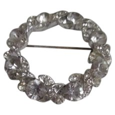 Circlet Brooch with Large Rhinestones Signed