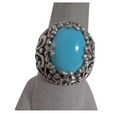 Ornate Sterling Silver Ring with Turquoise