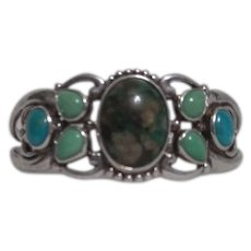 Sterling Silver Solid Bracelet with Jade Turquoise and Agate Inlay