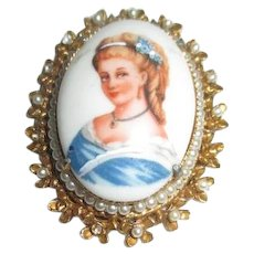 Florenza Limoges Brooch with Hand Painted Highlights in Setting with Seed Pearls