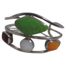 Mexican Sterling Silver Solid Bracelet with Multi-Colored Stones