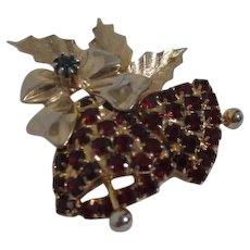 Hobe Christmas Garnet Rhinestone Bells Brooch