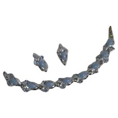 Silvertone and Light Blue Bracelet and Clip-on Earrings