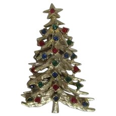 Goldtone Christmas Tree Pin Two Layers with Multi-Colored Rhinestones