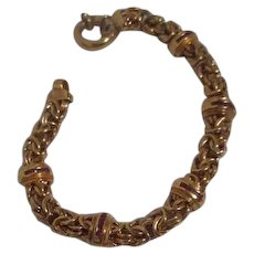 Sterling Silver Gold Plated Woven Link Bracelet with Genuine Rubies
