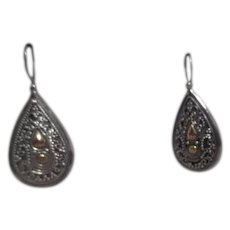Sterling Silver Indonesian Teardrop Shaped Earrings with Gold Highlight