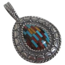 Sterling Silver Pendant with Inlaid Stones