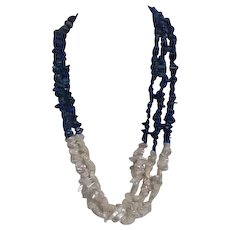 Three Strand Blue Stone and White Shell Necklace