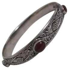 Sterling Silver Bracelet with Carnelian Inlay