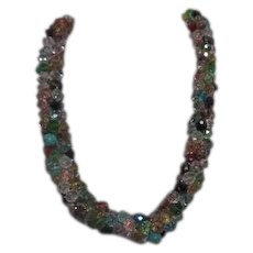 Thick Multi-colored Faceted Glass Bead Necklace