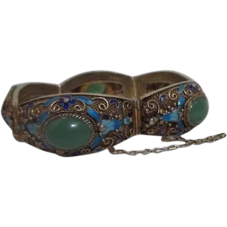 Chinese Export Jade Bracelet Gilt over Silver with Safety Chain