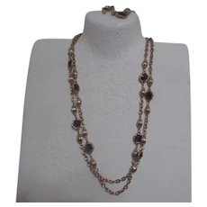 Double Necklace and Bracelet Goldtone with Lavender from Korea