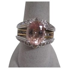Chinese Export Sterling Silver Multi-level Ring with Gold Plated Accents C-Z's and Gemstone