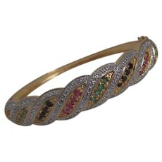 Chinese Export Gold Plated Over Sterling Silver Bangle Bracelet with Inlaid Gemstones
