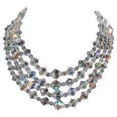 Crystal Necklace 4 Strands c1940
