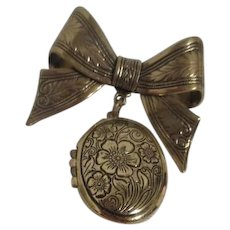 Goldtone with Black Etching Locket Brooch with Bow