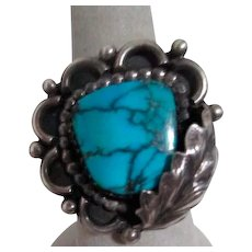 Sterling Silver and Turquoise Ring Signed