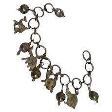 Camels and Elephants Brass Charm Bracelet