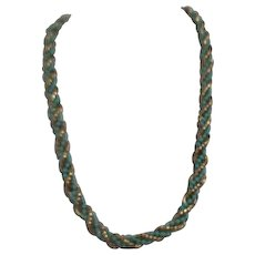 Avon Heavy 1972 Golden Rope Twist Faux Turquoise Wrapped Necklace