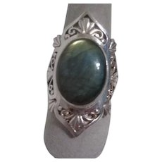 Sterling Silver Ring with Mother of Pearl Cabochon Inset Nepal