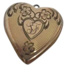 Gold Filled Locket Monogrammed LF and Dated 12/25/46