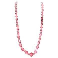 Long Crystal Multi-faceted Beaded Necklace