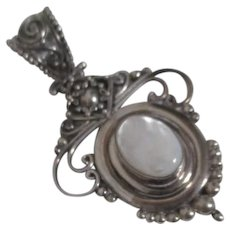Sterling Silver Pendant with Moonstone Cabochon from Indonesia