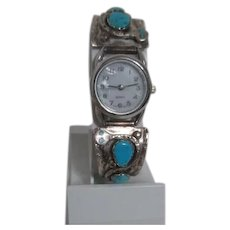 Effie C. Zuni signed Sterling Silver Watch Clips with Turquoise Stones and Snake Design/ Effie Calavaza