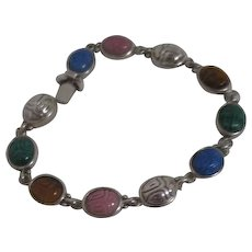 Sterling Silver and Gemstone Scarab Patterned Bracelet