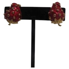 Red Strawberry Clip-on earrings Unsigned