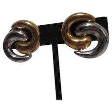 Monet Swirling Combo Goldtone and Silvertone Clip-on Earrings