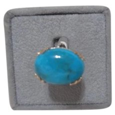 Sterling Silver and Gold Ring with Turquoise Stone