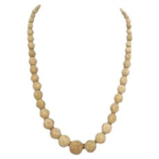 Vegetable Ivory Hand Carved Tagua Nut Beaded Necklace