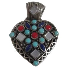 Sterling Silver Heart Shaped Pendant with Turquoise, Mother-of-Pearl Carnelian