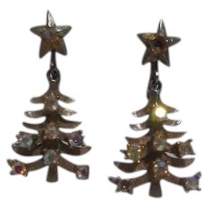 Lancer II Christmas Tree Clip On Earrings Goldtone