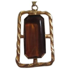 Parklane goldtone Necklace with Large Brown Stone Pendant