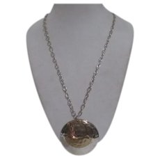 Unsigned Multi Metal Chain Necklace with Double Circle Pendant