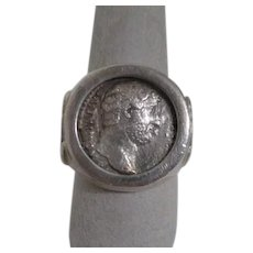 Sterling Silver Ring with Mediterranean Coin