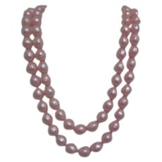 Richelieu Pink Faux Pearls Two Strand Necklace