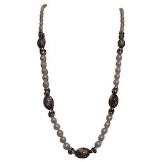 Faux Pearls and Hand Decorated Beads Necklace