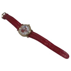 Santa Claus Watch Unitron Quartz Red Leather Strap