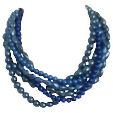 Multi-strand Shades of Blue Beaded Necklace