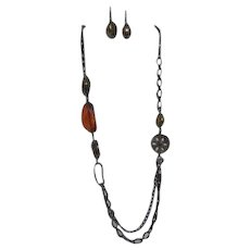 Bijoux Terner Necklace and Matching Pierced Earring Set