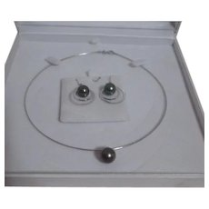 Tahitian Pearl and Sterling Silver Necklace and Earrings in Original Display Box