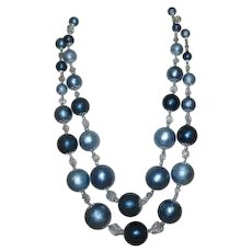 Double Strand Blue Beads Necklace with Silvertone Caps Rhinestone Spacers Clasp Signed Japan