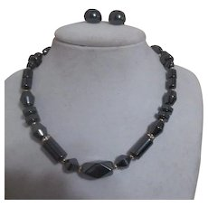 Hematite Choker Necklace and Earrings Set