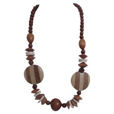 Wood Bead Necklace with Inlaid wood Discs