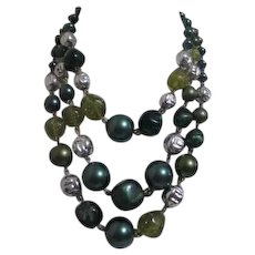 Three Strand Beaded Necklace with Shades of Greens and Silver