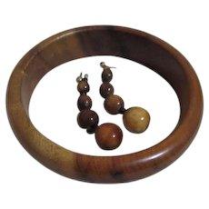 Wooden Solid Bracelet and Earrings Set