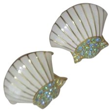 KLJ Kenneth Jay Lane Pair of Sea Shell Brooches with Blue Rhinestones